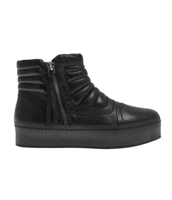 Δερμάτινο μαύρο sneaker μποτάκι