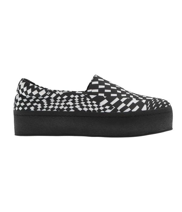 Ασπρόμαυρο slip-in sneaker
