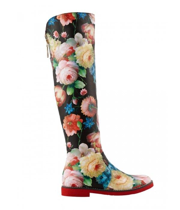 floral δερμάτινες μπότες