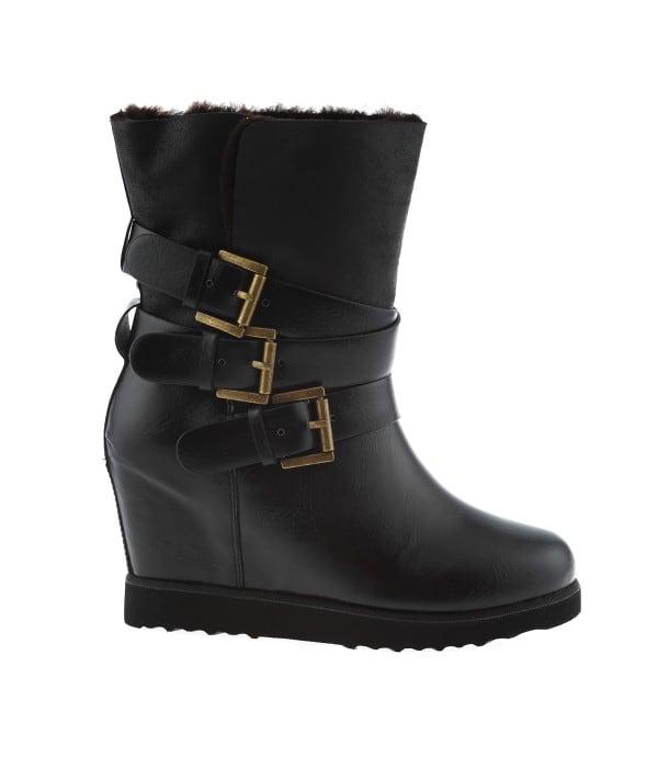 Δερμάτινο ankle boot με γούνινη επένδυση