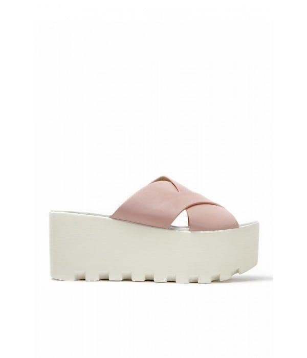 Bibi Pink-White Leather