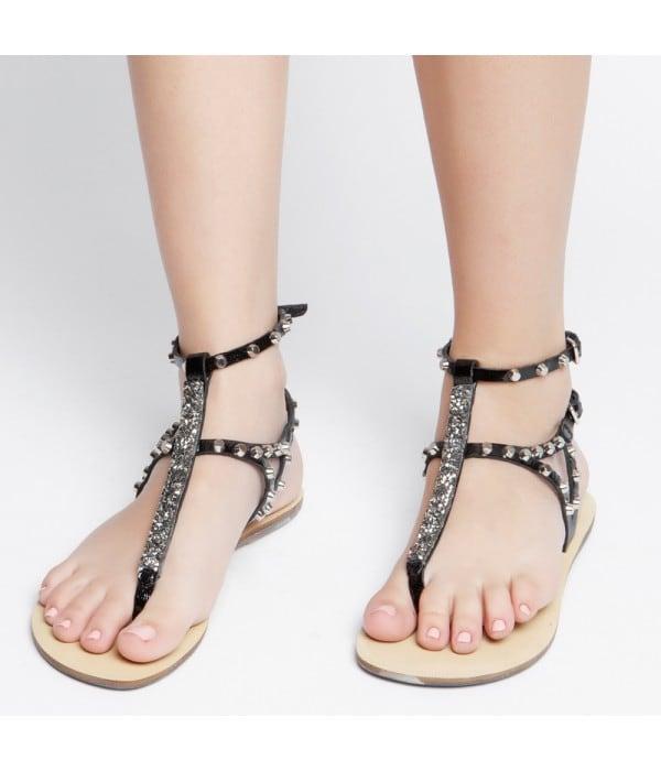 Charlize Black Leather Strass
