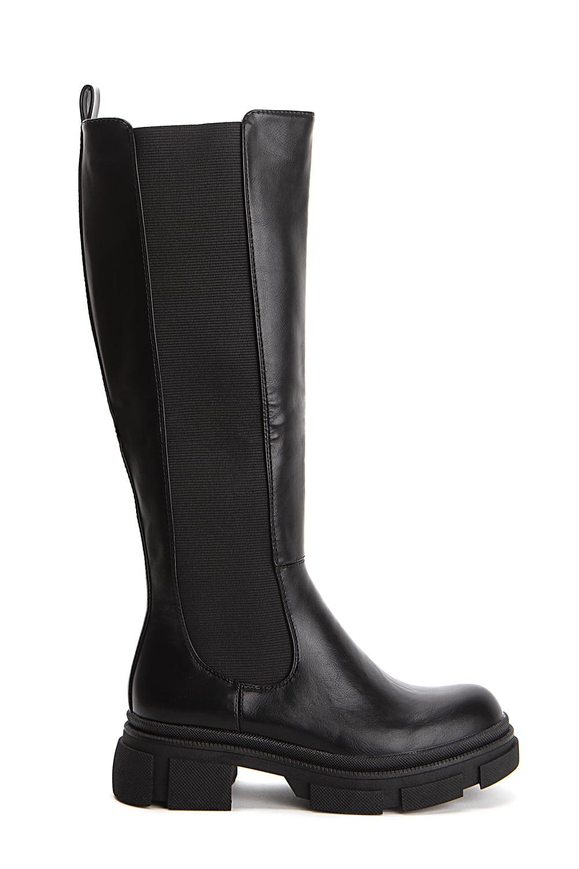 Combat chunky μπότες με λάστιχο, μαύρο